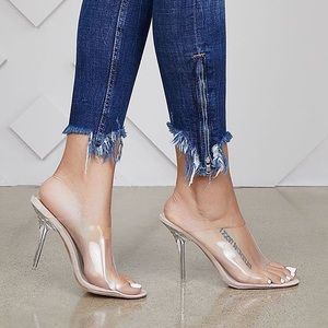🆕Allure Perplexing Clear Mule Sandal Heels
